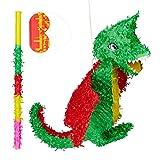 Relaxdays Piñata Dragón sin Relleno con Palo y Antifaz, Papel, Verde-Rojo, 35 x 53 x 9 cm