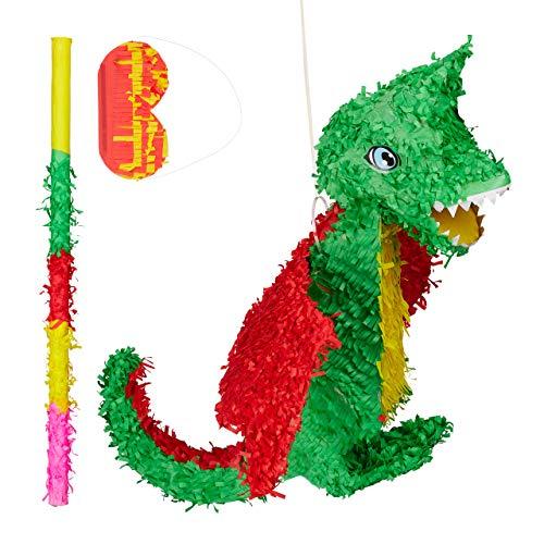 Relaxdays 3 TLG. Pinata Set Drache, Pinatastab mit Augenmaske, für Kinder, Stock & Augenbinde, zum selbst befüllen, Piñata, bunt
