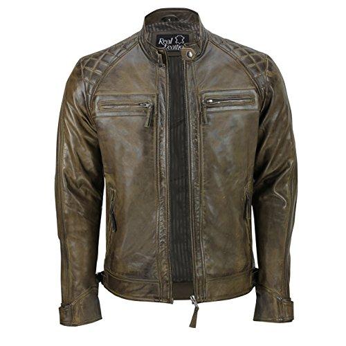 Xposed - Giacca da uomo con cerniera, in vera pelle morbida, stile motociclista, vintage, alla moda, casual, colore: nero Marrone M