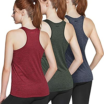 TSLA Women's Workout Tank Tops, Athletic Exercise Gym Yoga Tank Top, Active Dry Fit Running Summer Tanks, 3pack(ftn13) - Slate Grey/Olive/Deep Red, Large