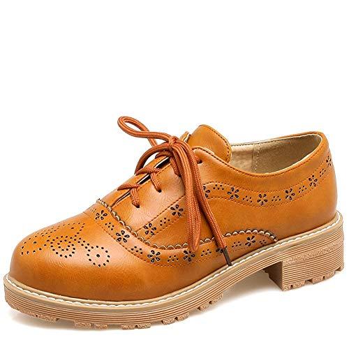 Vimisaoi Womens Wingtip Platform Oxfords Shoes Vintage Round Toe Block Cuban Brogues Lace-up Low Heel