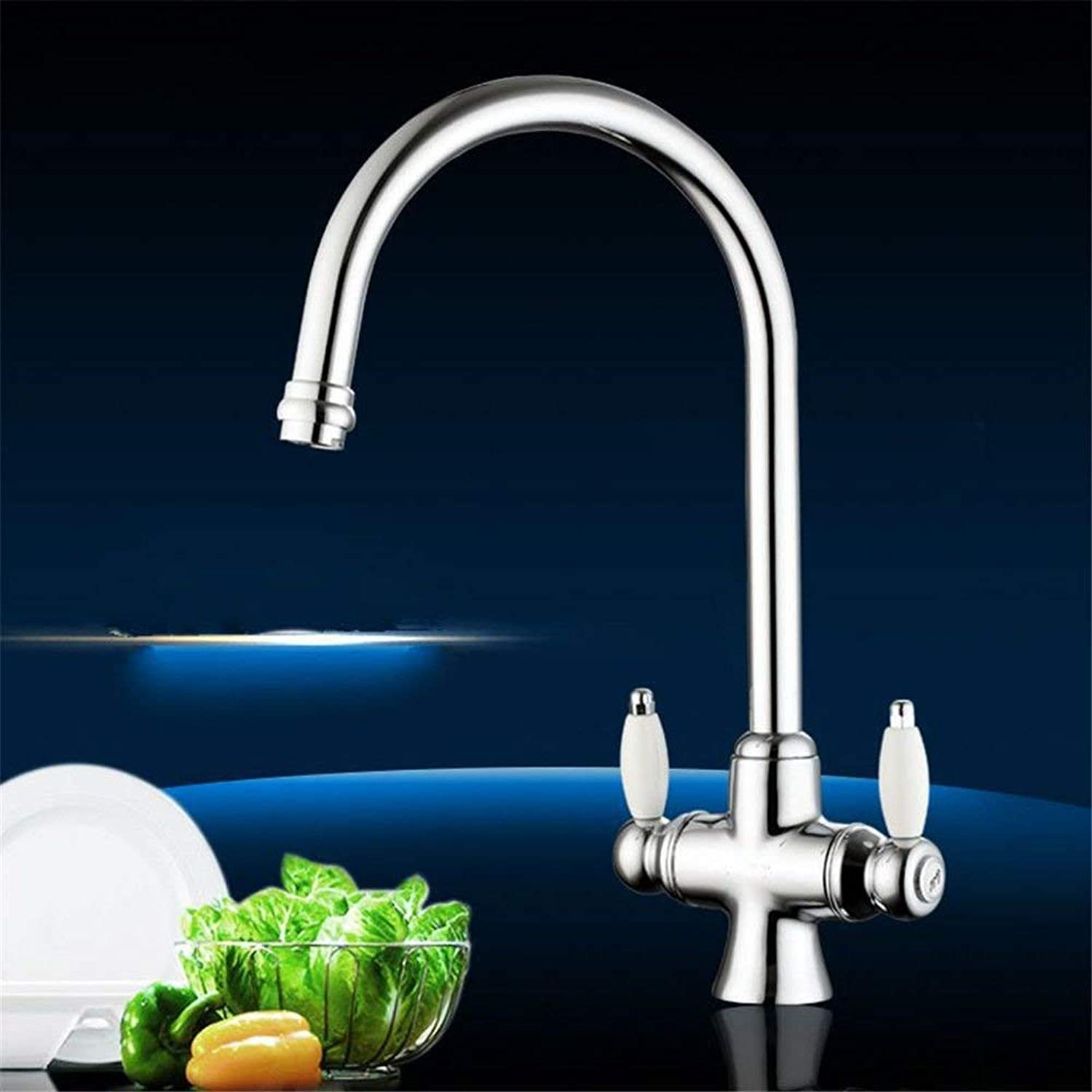 Kitchen Sink taps Two Handle tap Kitchen Sink tap hot and Cold Water, Solid Brass Sink Mixer Sink Faucet (color   -, Size   -)