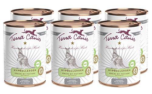 Terra Canis Hypoallergen Nassfutter I Reichhaltiges Premium Hundefutter in echter Lebensmittelqualität mit Känguru, Pastinake & Leinöl I 6 x 400g I allergenarm, getreidefrei & glutenfrei