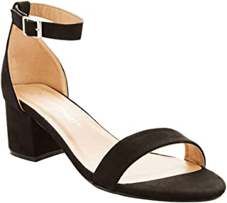 Dress Sandals for Women Comfortable Wide Width Low Block Heel Ankle Strap Pump