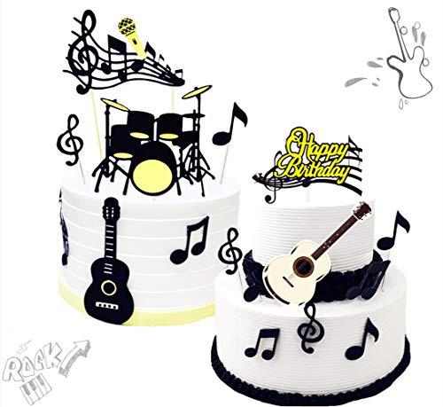 24 piezas JeVenis Rock Star Cupcake Topper Notas musicales Cupcake Decorpers Guitarra Cake Decorpers para Musician Party Baby Shower