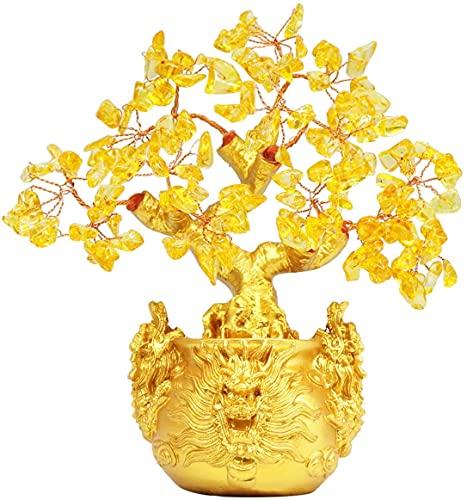 JYDNBGLS Decoração de armário de vinho de cristal amarelo para criação de dinheiro árvore da sorte bolsa para dinheiro decoração de casa sala de estar reunindo riqueza feng Shui dinheiro fazendo árvore presentes criativos