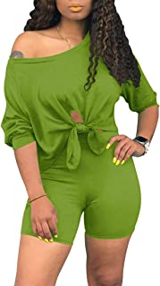 Womens Knot 2 Piece Sports Outfit Knot Tie Up Tracksuit Shirt Shorts Jogger Sportswear Biker Set Activewear