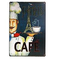 パリカフェ 金属板ブリキ看板警告サイン注意サイン表示パネル情報サイン金属安全サイン
