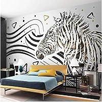 Iusasdz カスタム壁紙3D写真壁画黒と白の線ゼブラシンプルモダンファッションクールな背景壁紙Peint3D壁紙-250X175Cm