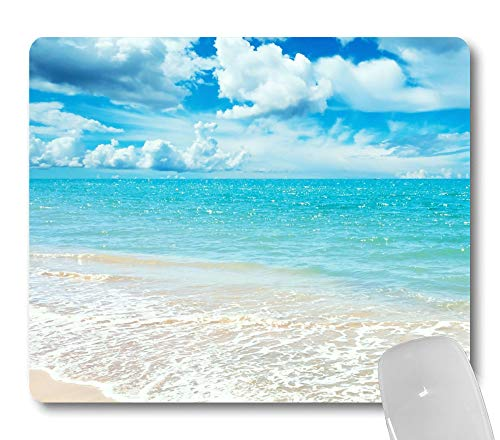 Wknoon Sunny Day Mouse Pad Custom Design, Coast Beach Scene Blue Sky White Clouds Awesome Nature Landscape Mouse Pads