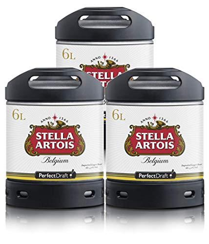 Bierzapfanlage PerfectDraft 6-Liter. Beinhaltet 3 x 6L Fässer Stella Artois Bier - Lager. Inklusive 15euros Pfand.