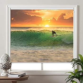 Premium UV Protection Water Proof Custom Roller Blinds Blackout Window Shades Printed Picture Window Roller Shade,62 W x 48 L PRB201