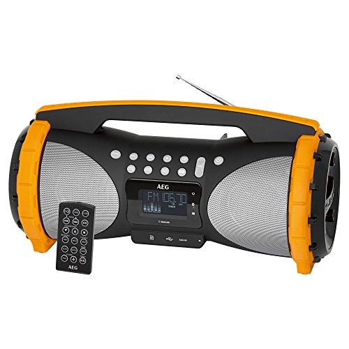 AEG SR 4367 Stereoradio/Soundbox mit Bluetooth/USB-Port/Card-Slot/AUX-IN/MP3/2x50 W + passiver Bass/Spritzwasser-/Staubgeschützt (IP44)