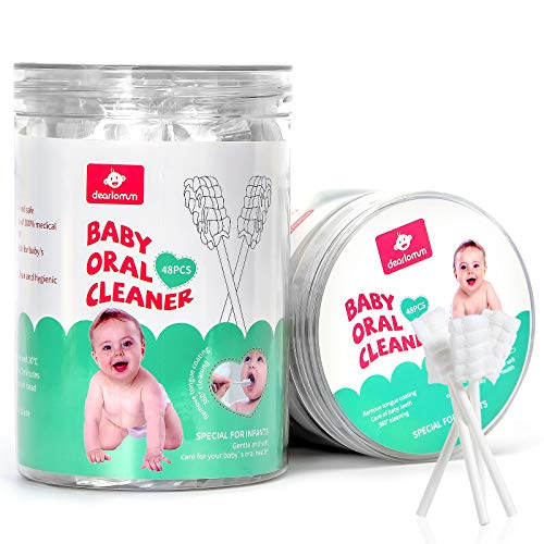 48PCS Baby Toothbrush, Newborn Baby Tongue Cleaner Toothbrush Clean Baby Gums Disposable Tongue Cleaner Soft Gauze Toothbrush Infant Oral Cleaning Stick Dental Care for 0-36 Months Baby