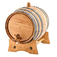 Handcrafted American White Oak Wood Barrel | Varnish Wood | New Upgraded Premium Stand! Medium Charred Interior | Black Steel Hoops | 2 Liters American Oak Aging Barrel | Barrel Capacity is an approximate Perfect to age your own spirits, whiskey, win...