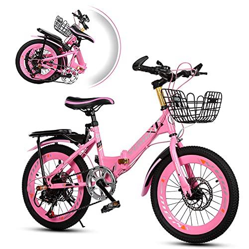 Mountain bike per bambini da 20 pollici, con cambio a 6 marce, telaio in acciaio al carbonio e freni a disco anteriori e posteriori, design pieghevole da 150 kg