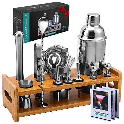 24-Piece Bartender Kit Cocktail Shaker Set, Eternal Moment 24oz Professional Stainless Steel Martini Shaker Bar Tools Set with Stylish Bamboo Stand,...