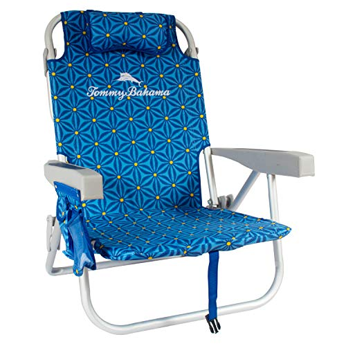 Tommy Bahama Backpack Cooler Beach Chairs - Blue Floral
