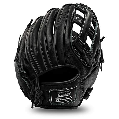 Franklin Sports Baseball Fielding Glove - Men's Adult and Youth Baseball Glove - CTZ5000 Black Cowhide Outfield Glove - 12.5' H-Web for Outfielders