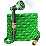 U UZOPI 50ft / 15m extendable flexible garden hose with 10 function high pressure spray nozzle, solid brass fittings, leak proof retractable hose, heavy duty latex core.