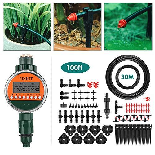 FIXKIT DIY Tropfbewässerungsset 30M Garten Bewässerungssystem Automatische Gewächshaus Sprinkler Plus Bewässerungsuhr, geeignet für Deck, Terrasse, Gewächshaus, Garten, Rasen usw