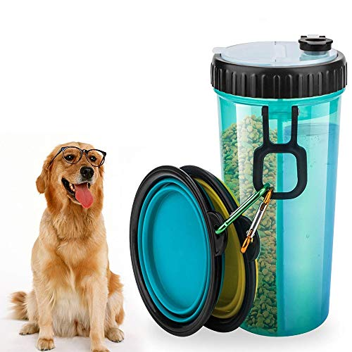 Wuudi Hundetrinkflasche für unterwegs, Hunde Wasserflasche mit 2 Faltschüsseln, Futterbehälter 2 in 1 für die Wassernahrung von Haustieren, tragbare Hundewasserschüsseln zum Spaziergang und Reise