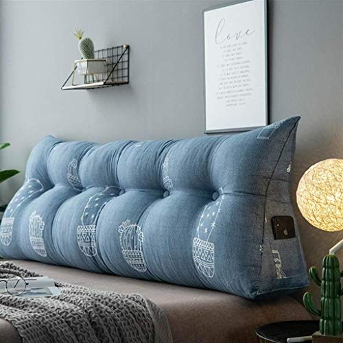 QYSZYG Cabecero tapizado sofá cama cojín de cuña triangular grande relleno ergonómico cojín de lectura almohadilla lumbar oficina con funda extraíble mesita de noche gran respaldo
