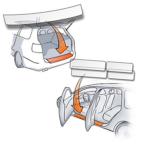 Lackschutzshop - Passform Lackschutzfolie im SET für Ladekantenschutz und alle Einstiegsleisten / Türeinstiege transparent 150µm - Lackschutz passgenau für Fahrzeugtyp siehe Beschreibung