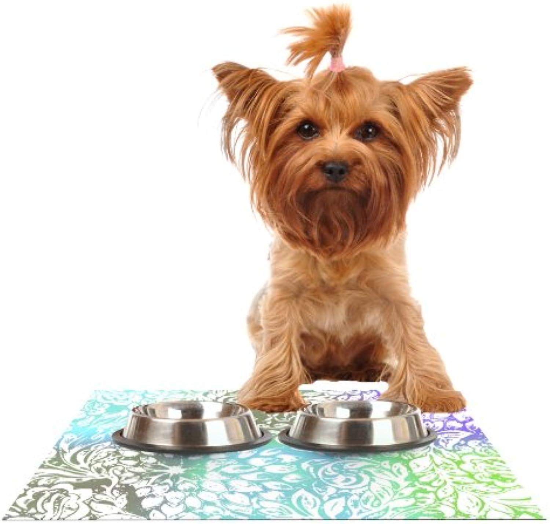 Kess InHouse Vikki Salmela bluee Bloom Softly for You  Feeding Mat for Pet Bowl, 18 by 13Inch
