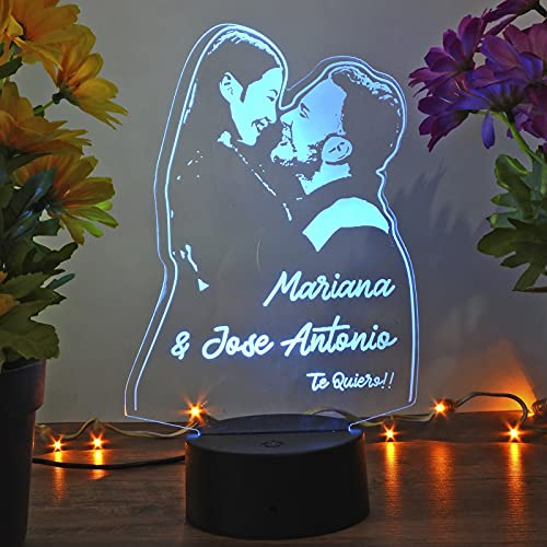 Oh! My Neon Lampara con Tu Foto 3D Personalizada Led 16 Colores Creativa Usb Regalos Ideales para Románticas Boda Cumpleaños Enhorabuena Felicidades (Base 1)