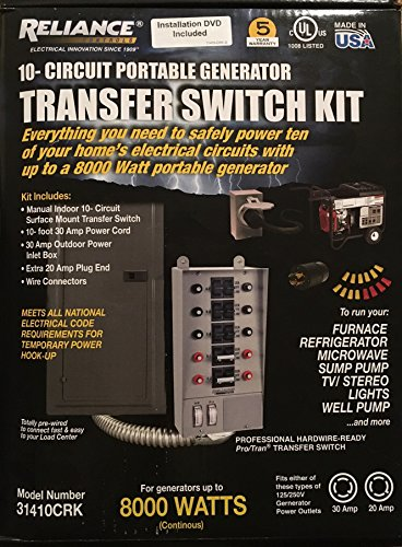 Reliance Controls 31410CRK Pro/Tran 10-Circuit 30 Amp Generator Transfer Switch Kit