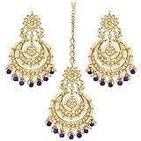 Aheli Bollywood Ethnische Chandbali Stil Ohrringe Maang Tikka Set Traditionellen Modeschmuck für Frauen (Blau)