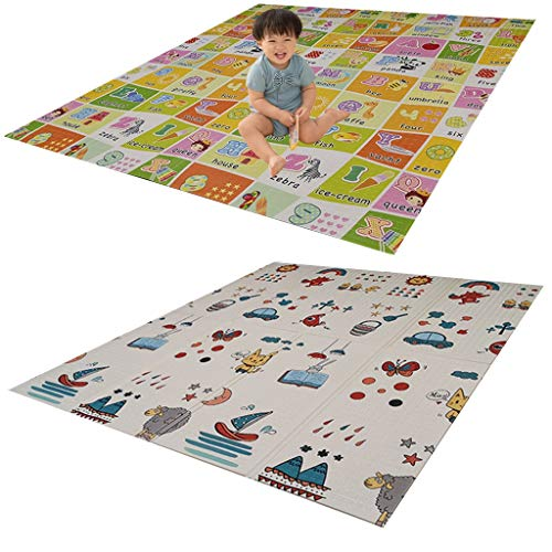 GaoYunQin Baby Play Mat, Folding Xpe Foam Double-sided Children Crawling Mat, Household Waterproof Non-slip Fitness Yoga Mat (Size : 200 * 180 * 1cm)