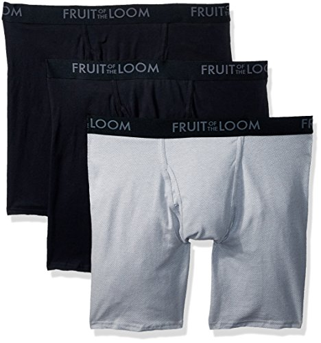 Fruit of the Loom Men's Breathable Underwear, Cotton Mesh - Assorted Color - Long Leg Boxer Brief, Large