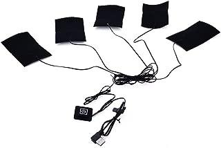 Clothing Electric Heating Pads, DDSKY 5pcs Adjustable 3 Gear Temp Carbon Fiber Heated Sheet Piece, Waterproof Warmer Heater for Winter Camping Lightweight - USB Charging