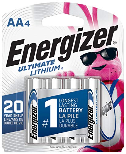Energizer AA Lithium Batteries, World's Longest Lasting Double A Battery, Ultimate Lithium (4 Battery Count)