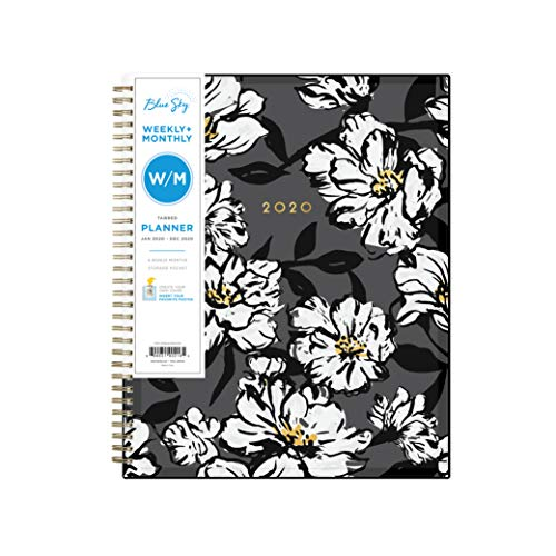 Blue Sky 2020 Weekly & Monthly Planner, Flexible Cover, Twin-Wire Binding, 8.5u0022 x 11u0022, Baccara Dark