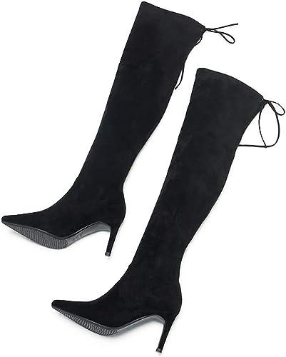 WJ Moda Sedienta para damen Damas Sexy sobre La Rodilla Muslo Alta, Tacones De Aguja Stiefel Tamaño, Stiefel hasta La Rodilla para damen