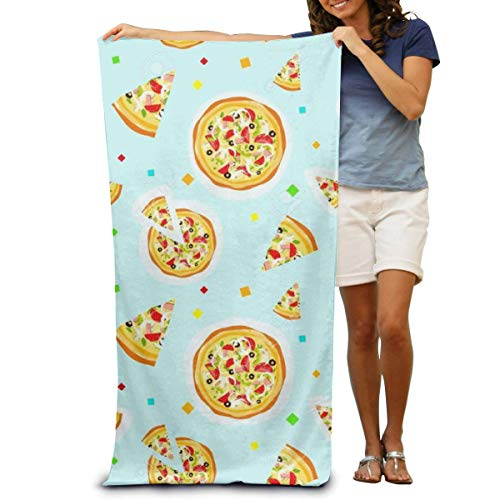 "DOKEVFOB Colorful Cartoon Pizza Texture Microfiber Beach Towel -Ultra Soft Super Water Absorbent Multi-Purpose Beach Throw Towel Oversized 32"" X 51"""