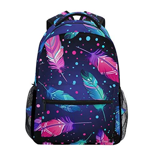 QMIN Sac à dos avec motif de plumes d'oiseau Boho - Sac à dos d'école - Sac à dos pour ordinateur portable - Fermeture éclair - Pour randonnée, camping - Pour garçons, filles, femmes et hommes