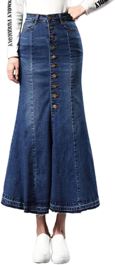 CHARTOU Women's Stretchy High Waist Package Hip Mermaid Maxi Long Denim Skirts