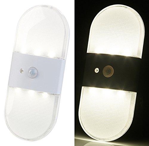 PEARL Wandlicht: Batterie-LED-Wandleuchte, Bewegungs- & Licht-Sensor, 80 Lumen, IP44 (LED Wand Lampe)