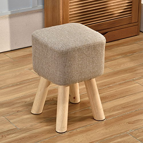 Young baby Banc de Chaussure tapissé Solide en Bois Plein carré, Tabouret de Sofa de Tissu de Coton, 5 Couleurs. (L28cm * L28cm * H40cm) (Color : Gray)