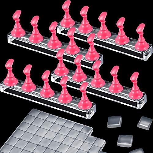 4 Jeu Supports de Présentoir de Pratique d'Ongles de Manucure Magnétiques Supports de Formation d'Art d'Ongle en Acrylique avec 126 Mastic Adhésif Transparent Argile Collante Réutilisable (Rose)