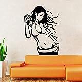 yaonuli Hermosa Chica Vinilo removible decoración Etiqueta de la Pared decoración del hogar 42X55cm