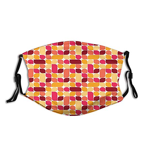 Nisdsgd Fashion 3D Face Protect Printed Gesichts-Mundschutz,Bauhaus Style Inspired Geometric Asymmetric Retro Pattern with Pastel Colors Print
