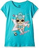 L.O.L. Surprise! Girls' Little Glitterati Kitty Queen Short Sleeve T-Shirt, Tahiti Blue, M-5/6