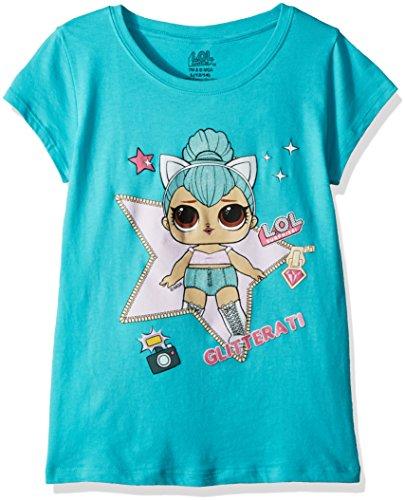 L.O.L. Surprise! Girls' Big Glitterati Kitty Queen Short Sleeve T-Shirt, Tahiti Blue, M-8/10