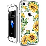 GiiKa iPhone 8 Case, iPhone 7 Case with Screen Protector, Clear Heavy Duty Protective Case Floral Girls Women Hard PC Back Case with Slim TPU Bumper Cover Phone Case for iPhone 8, Yellow Sunflowers