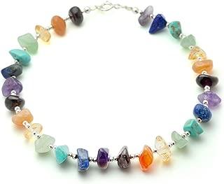 925 Sterling Silver Beads Seven (7) Chakra Natural Gemstones Beaded Anklet Bracelet 9.5